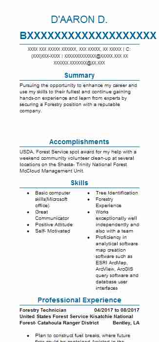 forestry technician resume sample