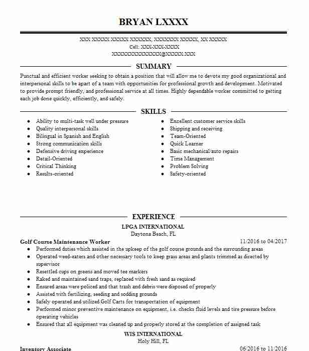 golf course maintenance worker resume example the country