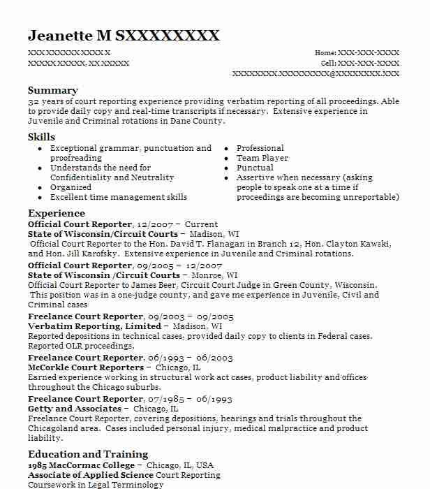 official court reporter - Court Reporter Resume Samples