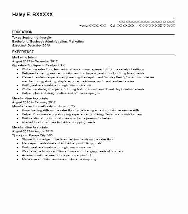 Marketing Intern  Marketing Intern Resume
