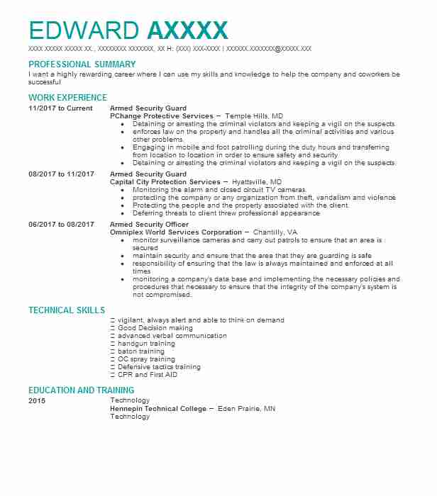 armed security guard - Police Officer Resume Templates