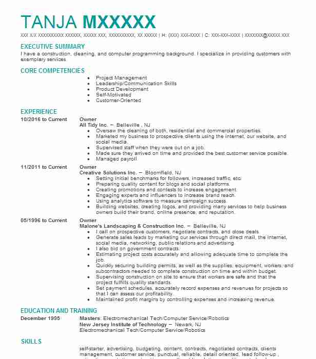 Similar Resumes  Small Business Owner Resume Sample