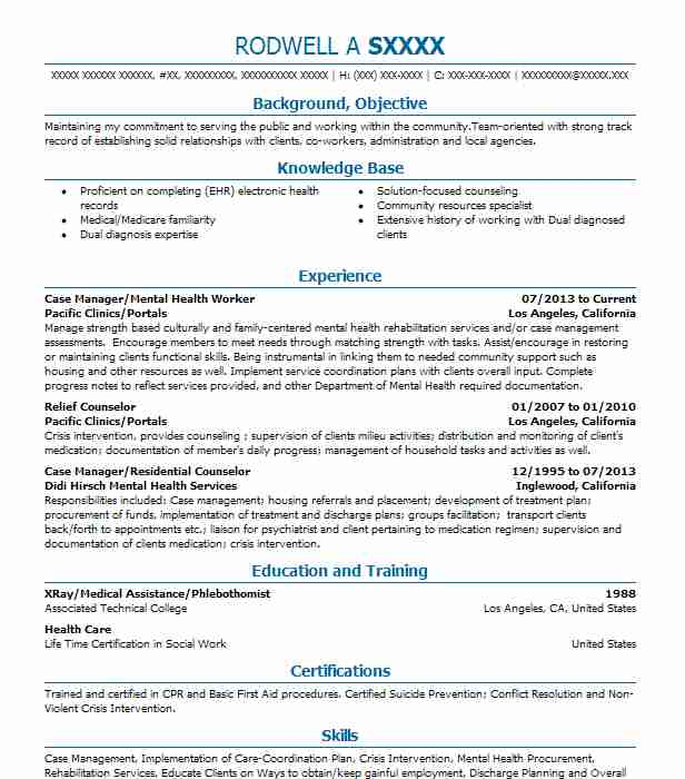 Case Manager Mental Health Worker Resume Example Pacific Clinics