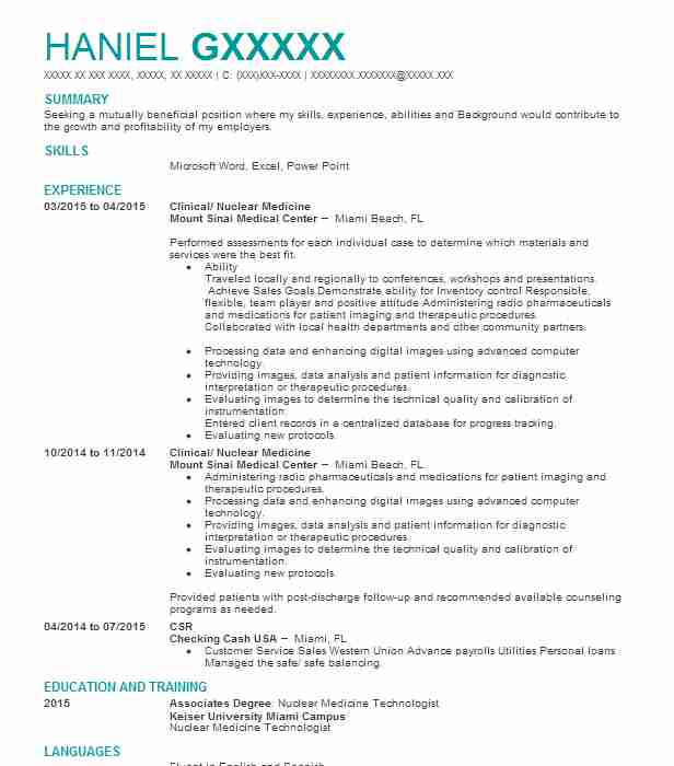 Clinical/ Nuclear Medicine  Home Depot Resume