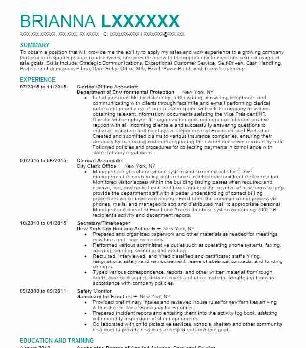 Clerical/Billing Associate  Clerical Resume Samples