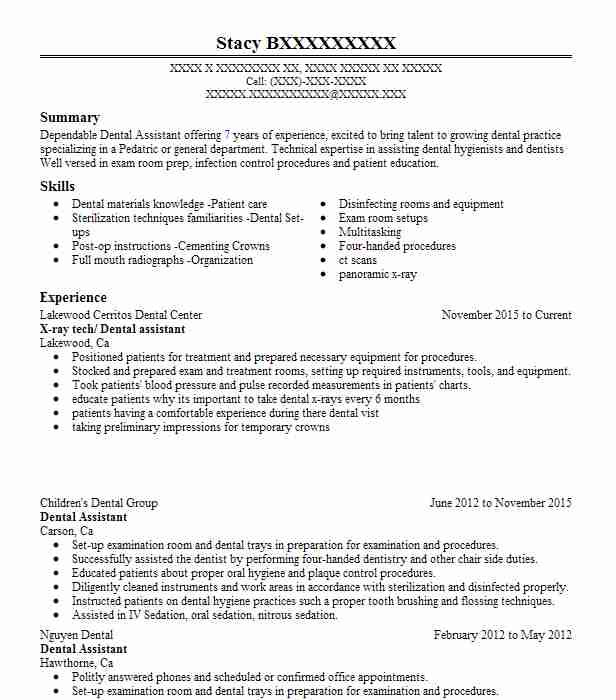x ray tech dental assistant - Dental Assistant Skills For Resume