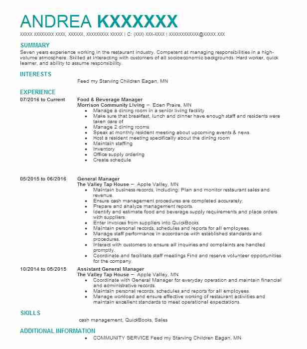 create my resume - Food And Beverage Manager Resume