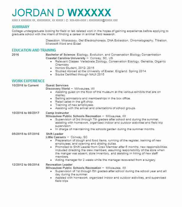 Guest Services  Biology Resume