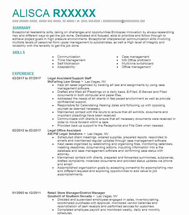 Legal Assistant/Support Staff  Immigration Attorney Resume