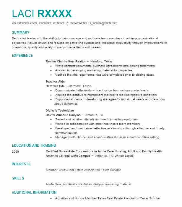 Find Resume Examples in Hereford, TX | LiveCareer