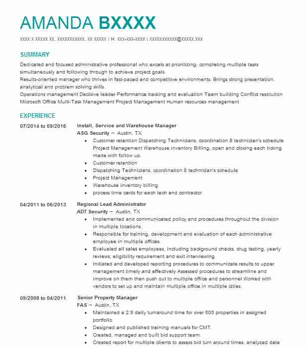 Install, Service And Warehouse Manager  Recruiting Coordinator Resume