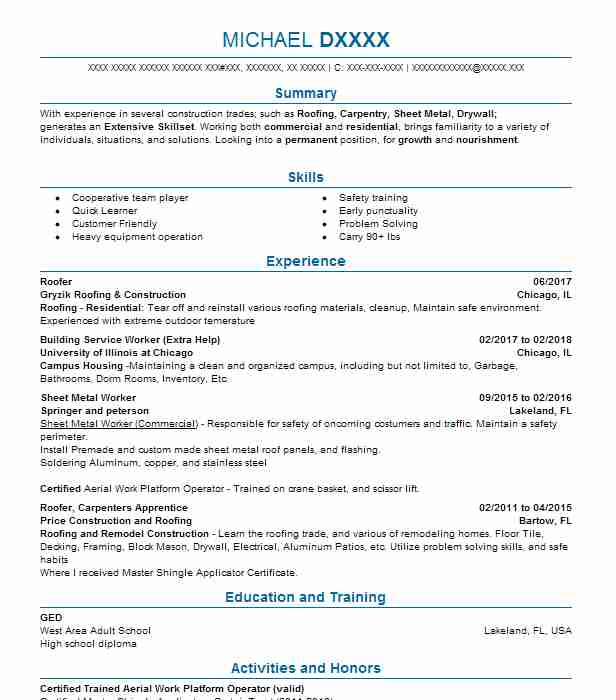 roofer resume