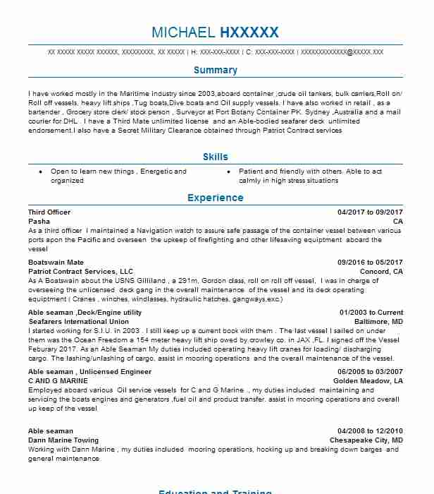 Third Officer Resume Sample Officer Resumes Livecareer