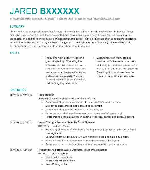 videographer resume samples