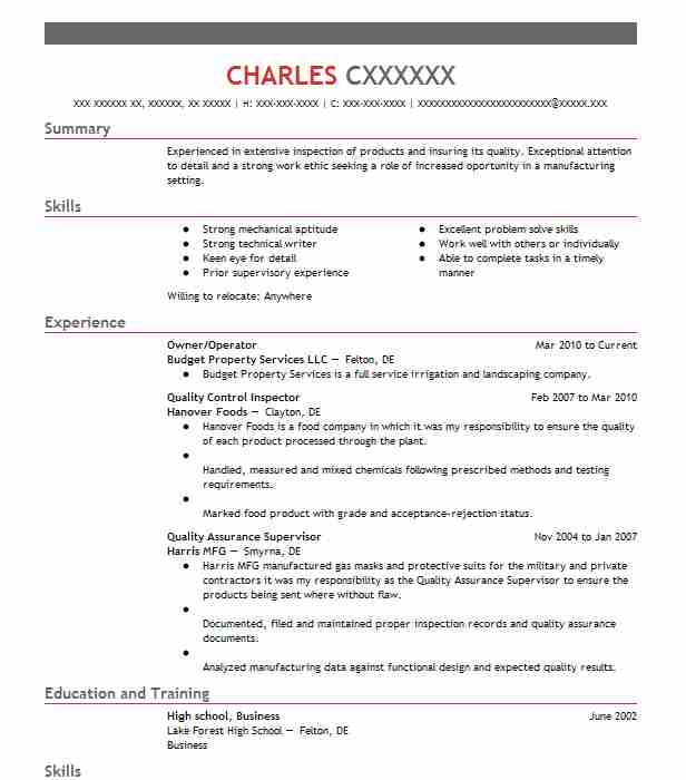 ndt inspector resume sample