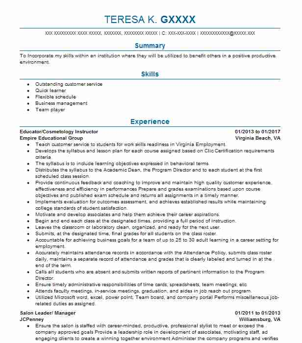 Similar Resumes  Cosmetology Resume Examples