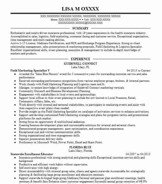 Field Marketing Specialist V  Insurance Broker Resume