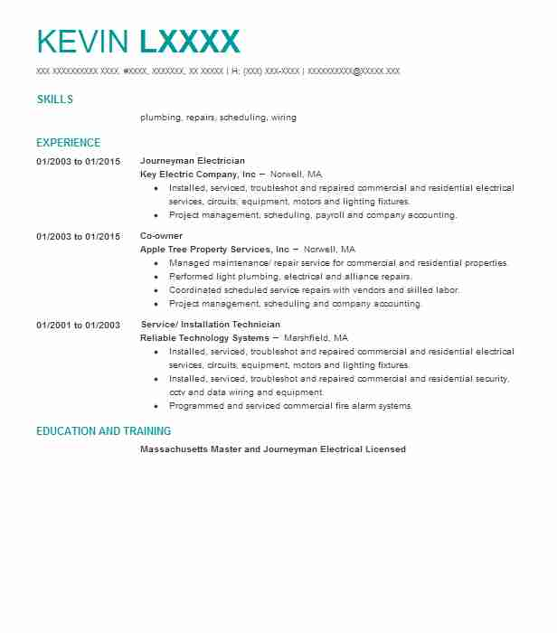 journeyman electrician - Journeyman Electrician Resume