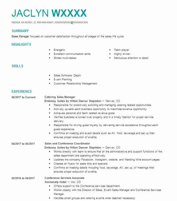 Catering Sales Manager Resume Sample Manager Resumes Livecareer
