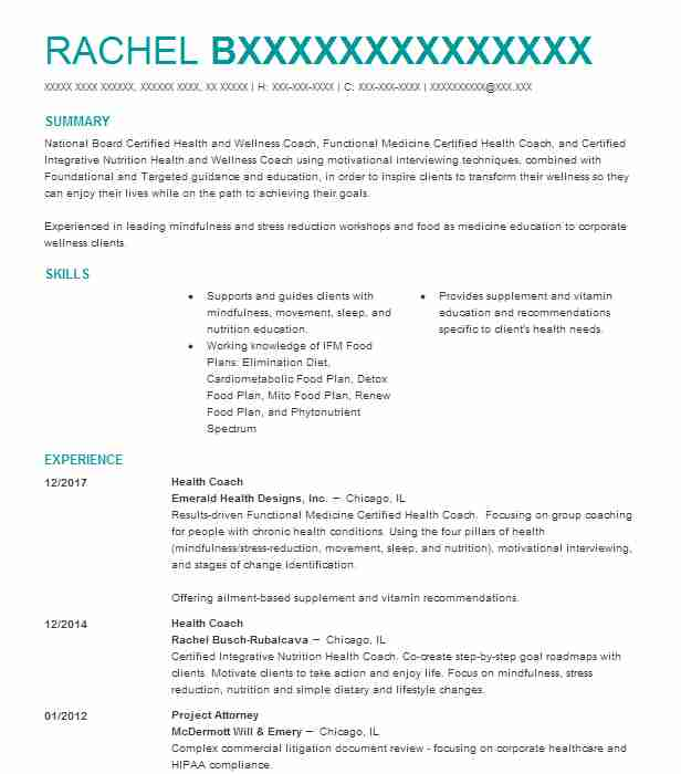 health coach resume sample