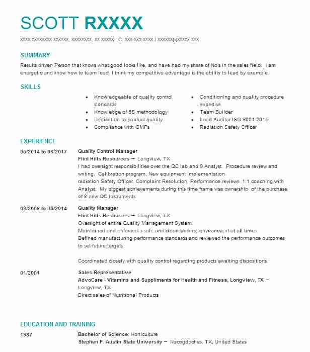 Quality Control Manager Resume Example (Flint Hills Resources ...