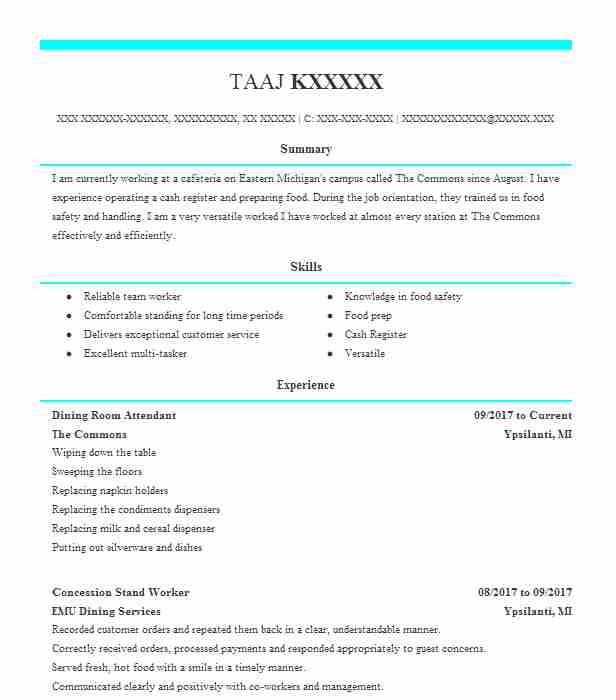 Dining Room Attendant Resume Sample | Attendant Resumes | LiveCareer