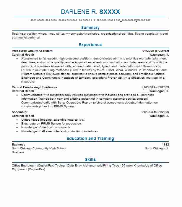 sample electronic assembler resume sample