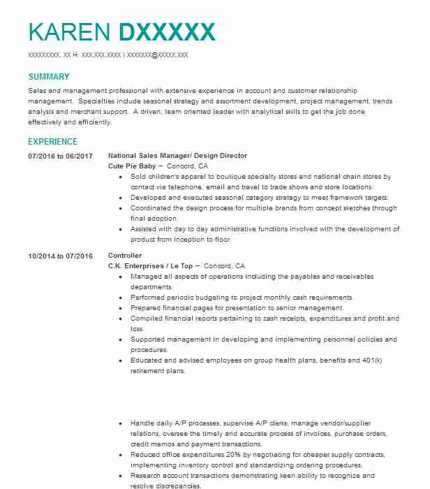 National Sales Manager/ Design Director  Accounts Payable And Receivable Resume