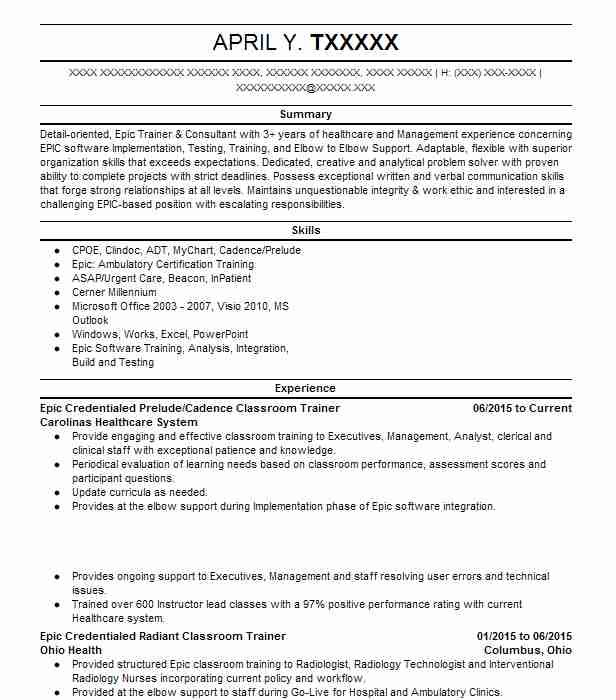 Elegant Epic Classroom Trainer Resume Example Carolinas Healthcare System Beachwood Ohio With Training Manual For Emr
