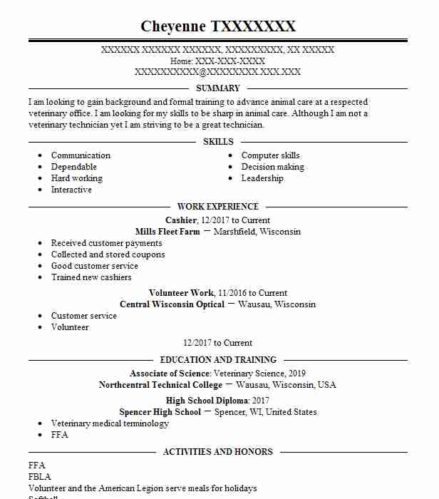 cashier - Animal Science Resume Examples