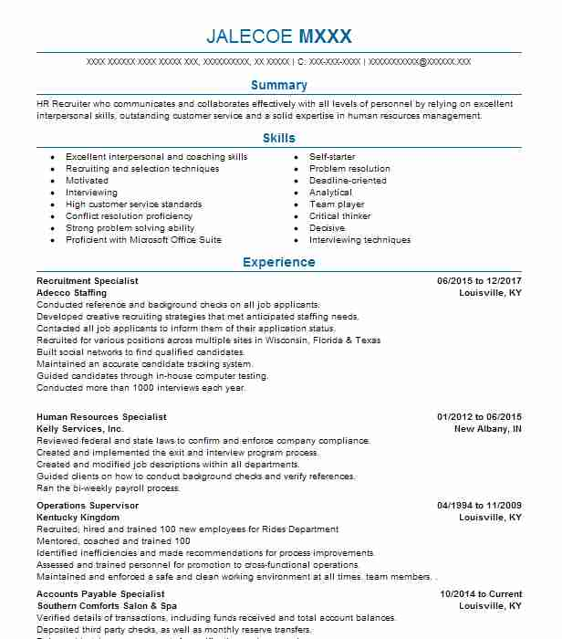 recruitment specialist resume sample specialist resumes livecareer