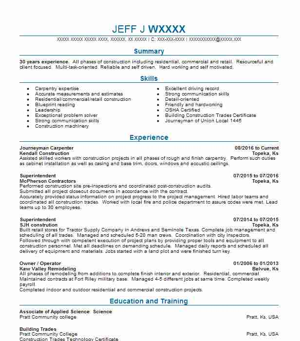top construction trades construction resume - Construction Trades Resume Samples