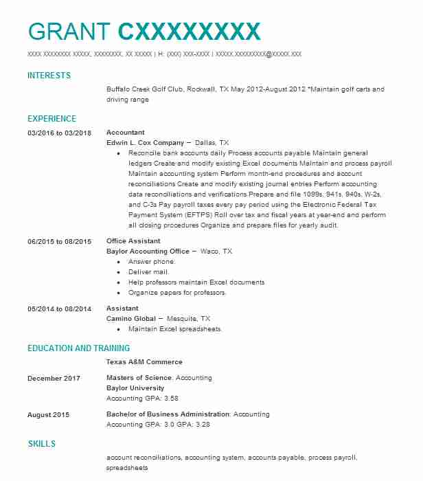 Create My Resume  Objective For Accounting Resume