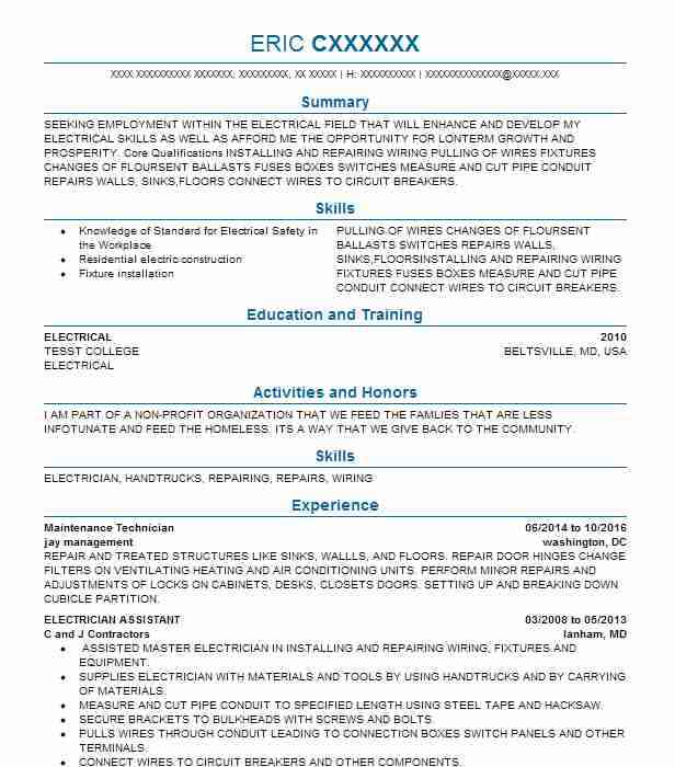 Eye grabbing electrician resumes samples livecareer electrician resume samples altavistaventures Images