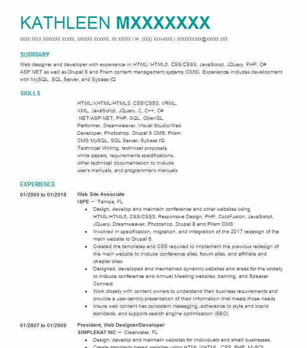 top web design and user experience resume
