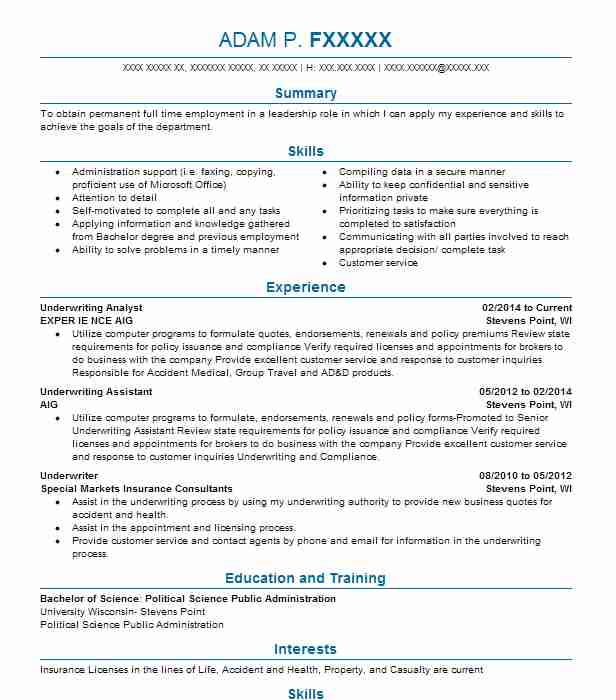 Underwriting Analyst  Insurance Resume Examples