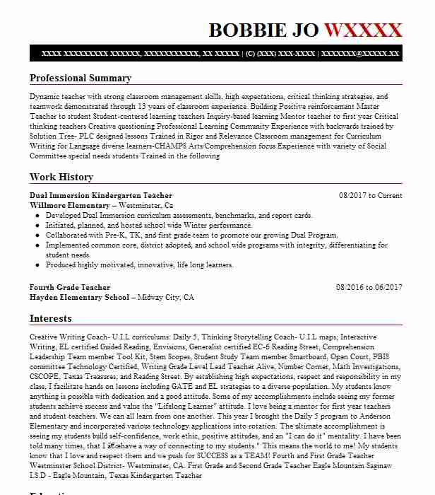 Dual language teacher resume sample cheap term paper editing service for college