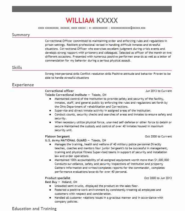 Correctional Officer  Corrections Officer Resume