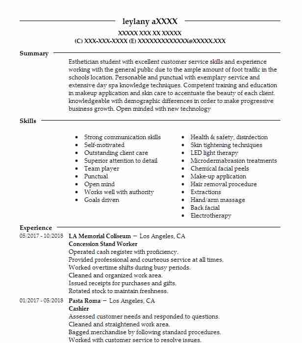 concession stand worker resume sample