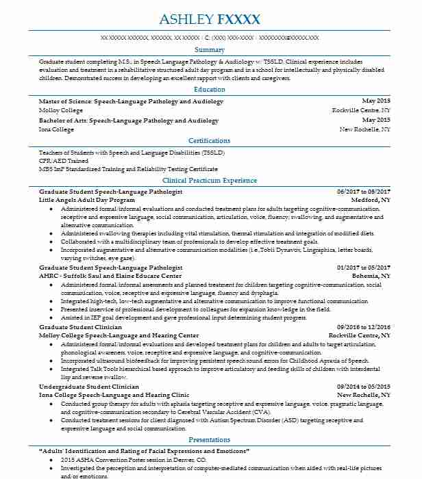 530 Speech Pathology And Audiology Resume Examples in New York ...