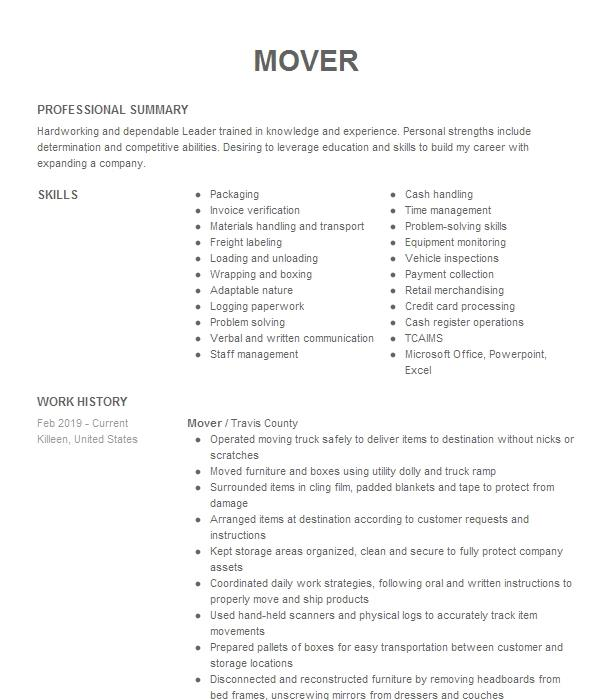 mover  packer  loader resume example bekins moving company