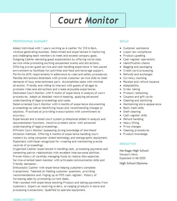 court monitor supervisor  party host resume example urban