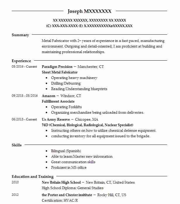 hose assemblier and metal fabricator resume example mcfadden