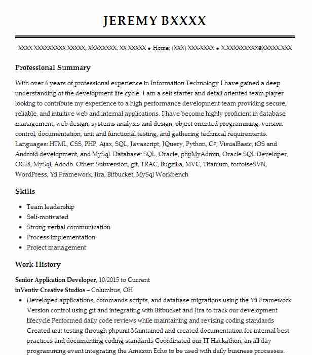 senior application developer resume example ibm