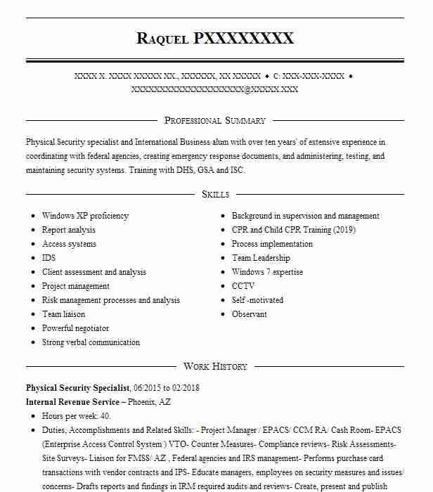 physical security specialist resume example fincen