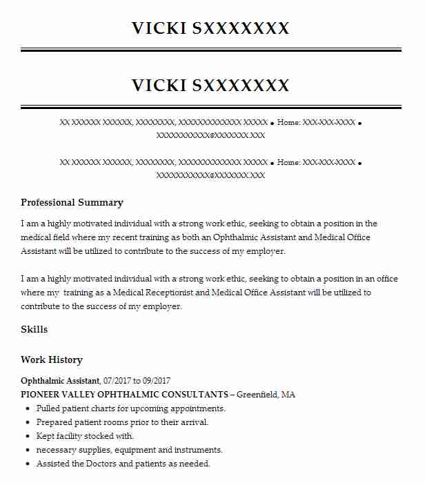 Ophthalmic Assistant Resume Sample | Resumes Misc | LiveCareer
