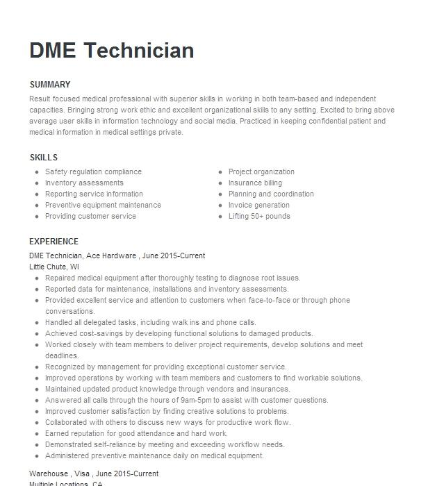 dme driver resume example professional pulmonary service
