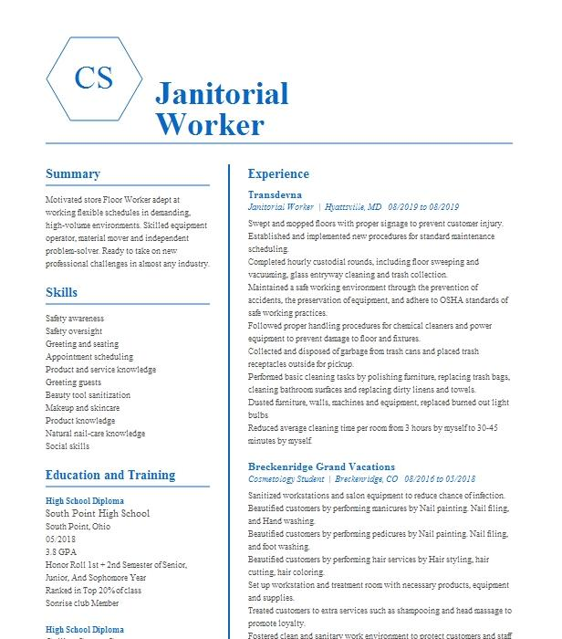 Janitorial Service Worker Resume Example Building