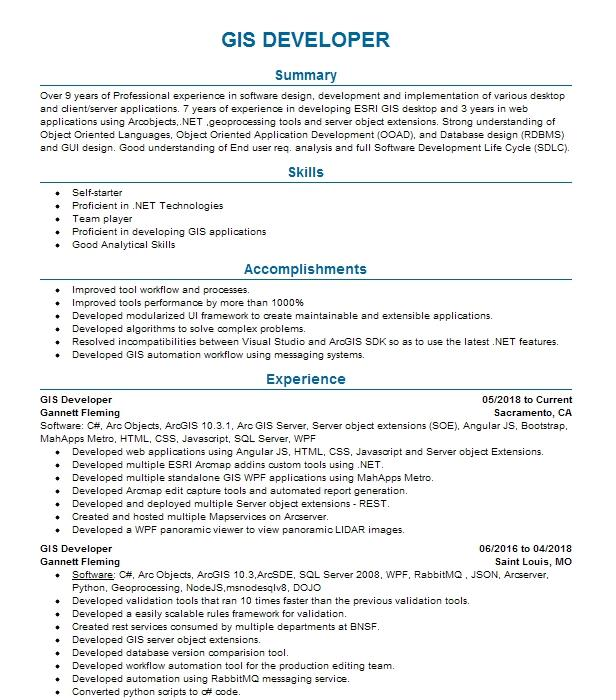 GIS Developer Resume Example CSI IT - Fort Worth, Texas