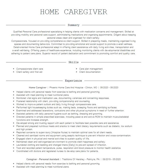 in home caregiver resume example adult foster care  saint